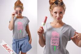 T-Shirt Damen Uni Grau Baumwolle Print Eis Kurzarm