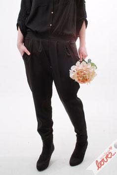 Hose Lang Damen Chino Bundfalten Uni Schwarz