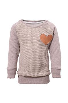 Guttellino Sweatshirt Herz Strick Taupe