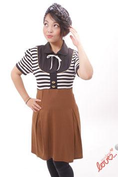 Kleid Damen Blusenkleid Jersey Hellbraun Streifen Schwarz Weiß Kurzarm