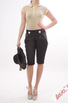 Hose Caprihose Damen Uni Schwarz Punkte Weiß