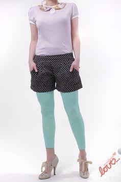 Hose Shorts Damen Schwarz Herzen Weiß