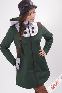 Mantel Damen Softshell Dunkelgrün Punkte Schwarz Weiß Kapuze
