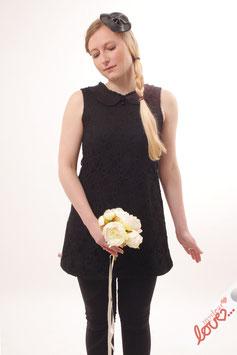 Kleid Damen Hochzeit Uni Schwarz Spitze Bubikragen Ärmellos