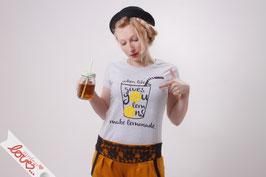 T-Shirt Shirt Damen Uni Grau Print Zitrone Gelb Kurzarm