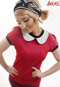 Shirt T-Shirt Damen Uni Rot Bubikragen Punkte Weiß Kurzarm