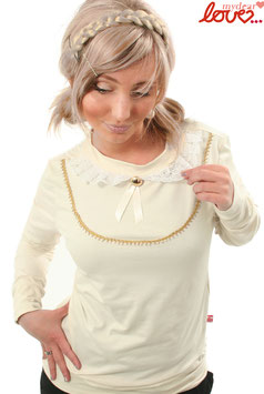 Shirt Damen Jersey Uni Creme Kragen Spitze Langarm