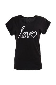 T-Shirt Damen Love schwarz Kurzarm Print Weiß