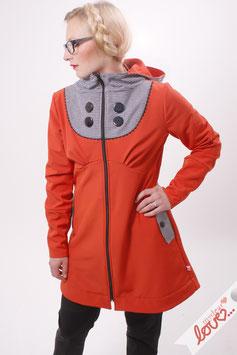 Mantel Damen Softshell Orange Karo Schwarz Weiß Kapuze