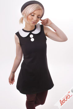 Kleid Damen Sweat Uni Schwarz Bubikragen Weiß Punkte Ärmellos