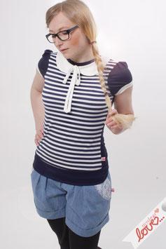 Shirt T-Shirt Damen Streifen Marine Bubikragen Weiß Kurzarm