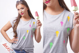 T-Shirt Damen Uni Grau Baumwolle Print Eistüten Kurzarm