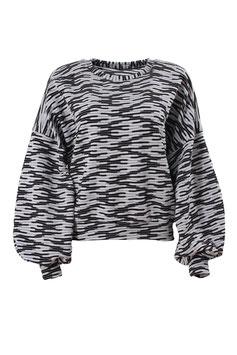 Sweatshirt Damen Uni Muster schwarz weiß Oversized Rundhals