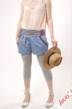 Hose Shorts Damen Jeans Hellblau Streifen Marine
