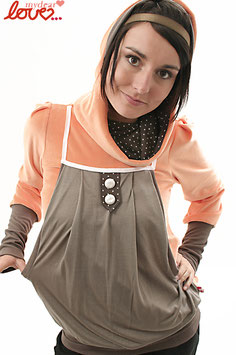 Hoodie Damen Nicki Orange Punkte Grau Langarm Kapuze