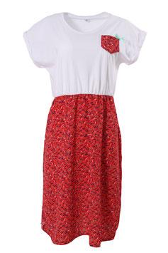 Kleid Damen Weiß, Muster Fische Rot, Tasche, Kurzarm, Rundhalsausschnitt