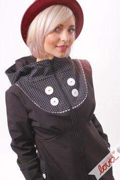 Mantel Damen Softshell Schwarz Punkte Schwarz Weiß Kapuze