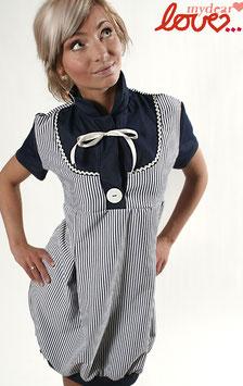 Kleid Damen Blusenkleid Baumwolle Streifen Blau Weiß Kurzarm