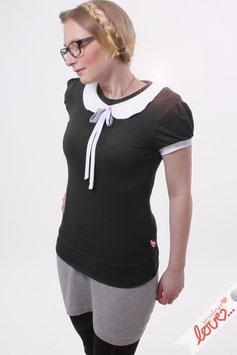 Shirt Shirt T-Shirt Damen Uni Schwarz Bubikragen Weiß Kurzarm