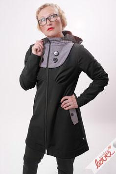 Mantel Damen Softshell Schwarz Karo Schwarz Weiß Kapuze