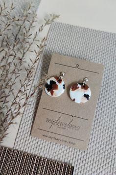 Ohrringe Kreis Weiß, Muster Braun Schwarz Rose, Ohrstecker silberfarben