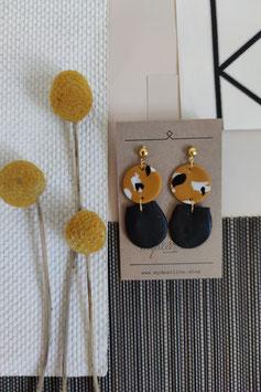 Ohrringe Kreis senf Muster, Tropfen halb schwarz, Stecker goldfarben
