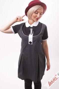 Kleid Damen Blusenkleid Baumwolle Punkte Schwarz Weiß Kurzarm