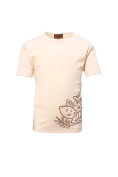 Guttellino Shirt Transferdruck Kurzarm Jersey Natur
