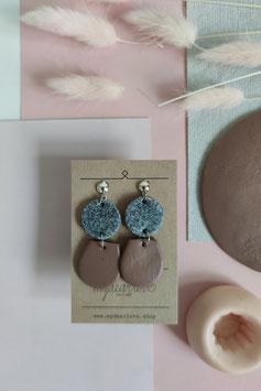 Ohrringe Kreis Granitimitat, Tropfen halb Mauve, Ohrstecker silberfarben