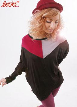 Shirt Fledermausshirt Damen Jersey Colourblocking Braun Weinrot Grau