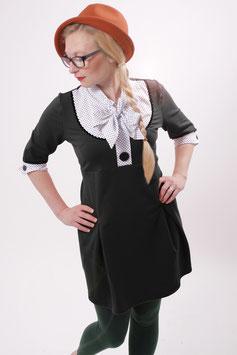 Kleid Damen Blusenkleid Sweat Schwarz Schluppe Punkte Dreiviertelärmel