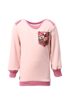 Guttellino Shirt Rosa Langarm Materialmix Print Tasche