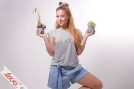 T-Shirt Damen Uni Grau Baumwolle Print Kakteen Kurzarm