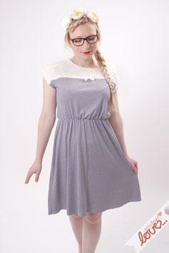 Kleid Damen Jersey Streifen Marine Spitze Weiß Kurzarm