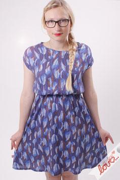Kleid Damen Viskose Blätter Blau Kurzarm Rundhals