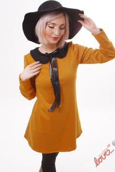 Kleid Minikleid Sweat Gelb Bubikragen Schwarz Langarm