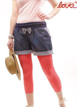 Hose Shorts Jeans Damen Marine Streifen Schleife