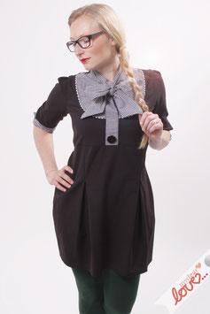 Kleid Damen Blusenkleid Sweat Schwarz Schluppe Karo Dreiviertelärmel