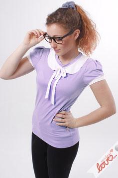 Shirt T-Shirt Damen Uni Flieder Bubikragen Weiß Kurzarm