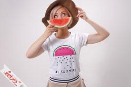 T-Shirt Damen Uni Weiß Baumwolle Print Melone Kurzarm
