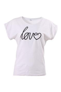 T-Shirt Damen Love Weiß Kurzarm Print Schwarz