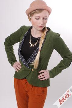 Blazer Damen Jacke Cord Grün Blumen Schwarz