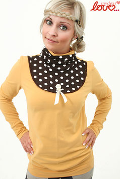 Shirt Damen Jersey Uni Gelb Rollkragen Punkte braun Langarm