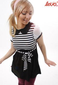 Kleid Jersey Schwarz Weiß Streifen Bubikragen Kurzarm