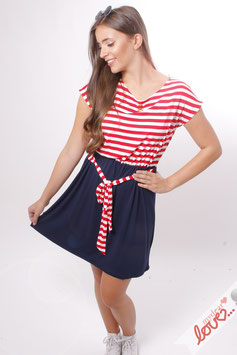 Kleid Damen Jersey Streifen Marine Kurzarm Bindeband