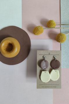 Ohrringe Kreis Mauve, Tropfen halb Zitrone, Ohrstecker silberfarben