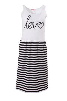 """Kleid Damen Jersey Weiß Druck """"LOVE"""", Streifen Schwarz Weiß, Ärmellos, Rundhals"""