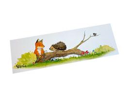 Lesezeichen: Fuchs und Igel