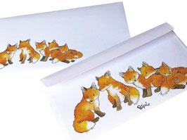 Kuvert-Set: 20 Briefumschläge Fuchsgruppe