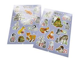 Stickerbogen-Set: 24 Zahlen für den Adventskalender